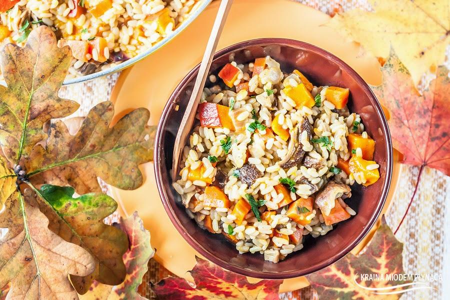 risotto, danie z ryżu, risotto z grzybami, risotto z dynią, risotto jesienne, ryż, jesień, danie jesienne, kolory jesieni, dynia hokkaido, dynia
