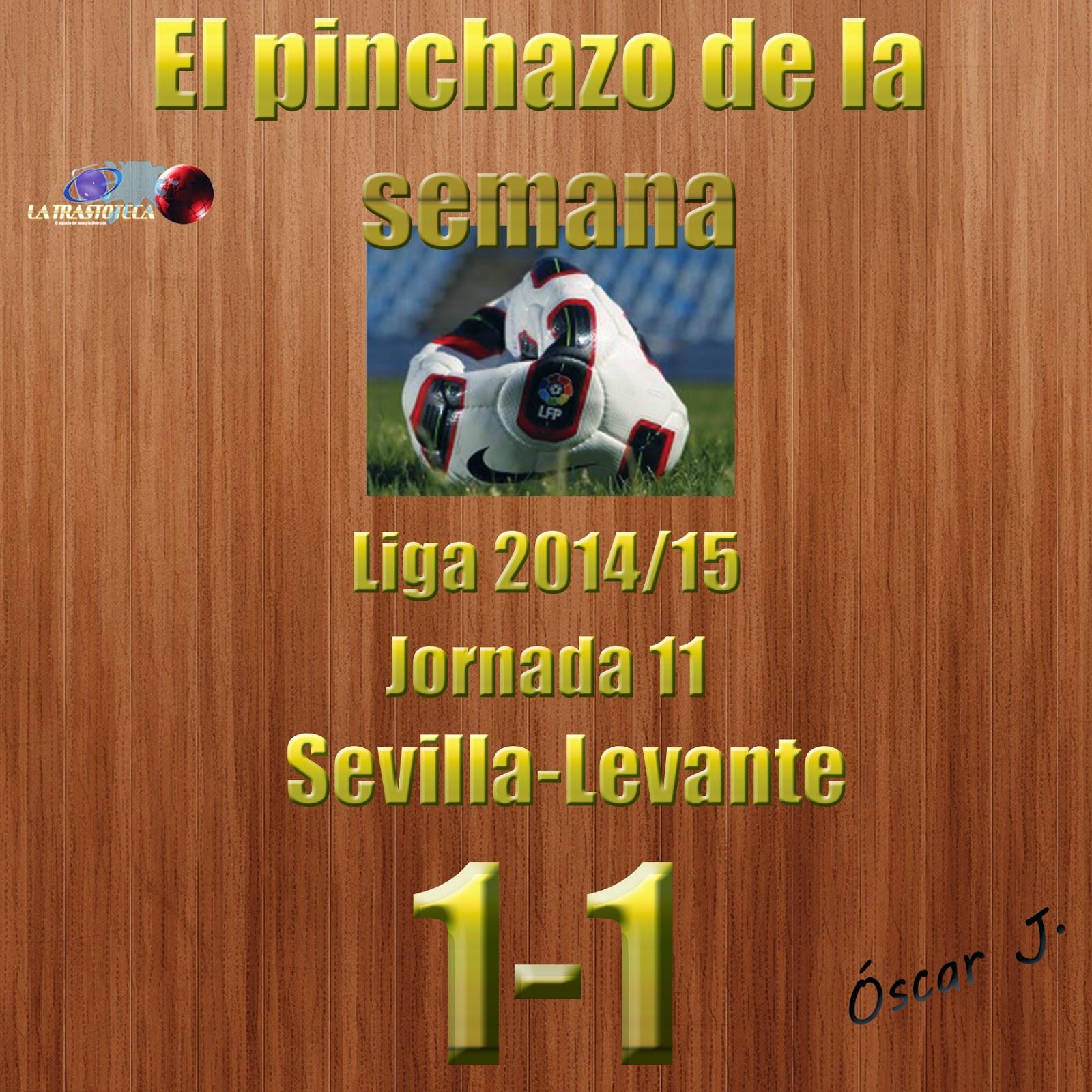 Sevilla 1-1 Levante. Liga 2014/15 - Jornada 11. El pinchazo de la semana.