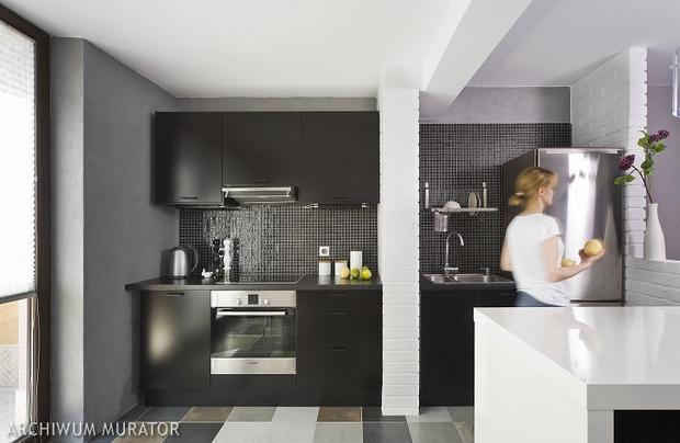 8 kuchni minimalistycznych  SPOD KANAPY -> Kuchnia Czarno Siwa