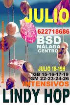 SUPER INTENSIVOS DE LINDY HOP EN JULIO EN  DOS SEMANAS EN BSD BAILAS SOCIAL DANCE MÁLAGA CENTRO .