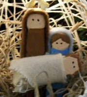 String nativity ornaments with baby Jesus