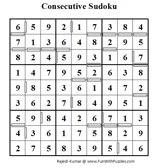 Consecutive Sudoku (Daily Sudoku League #54) Solution