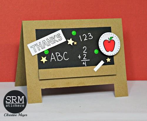SRM Stickers Blog - Chalkboard Teacher Thank You Card by Christine - #card #teacher #thankyou #stickers #chalkboardmarker #Blackboard #DIY