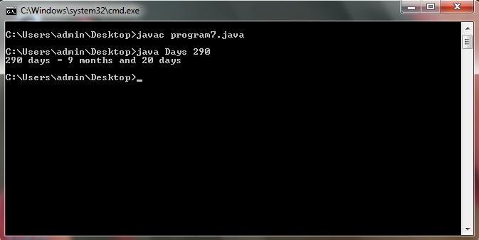 Java program to convert given number of days into months and days