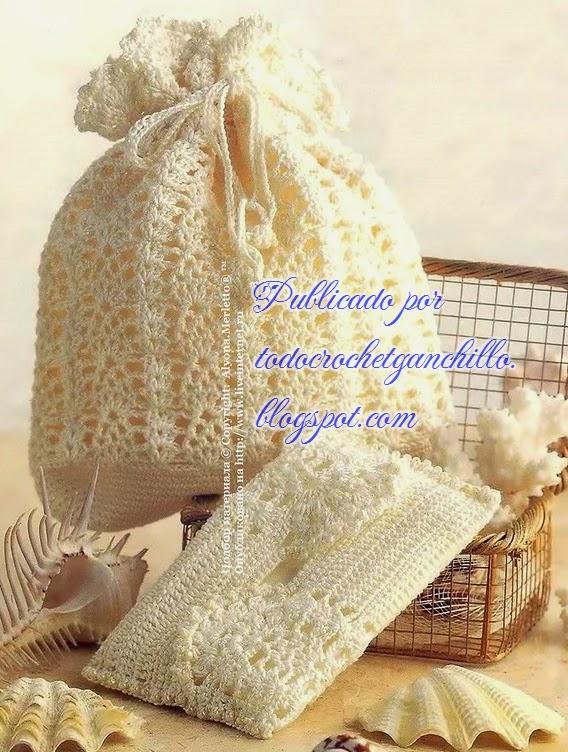 Cartera y portacosméticos delicados ganchillo / crochet