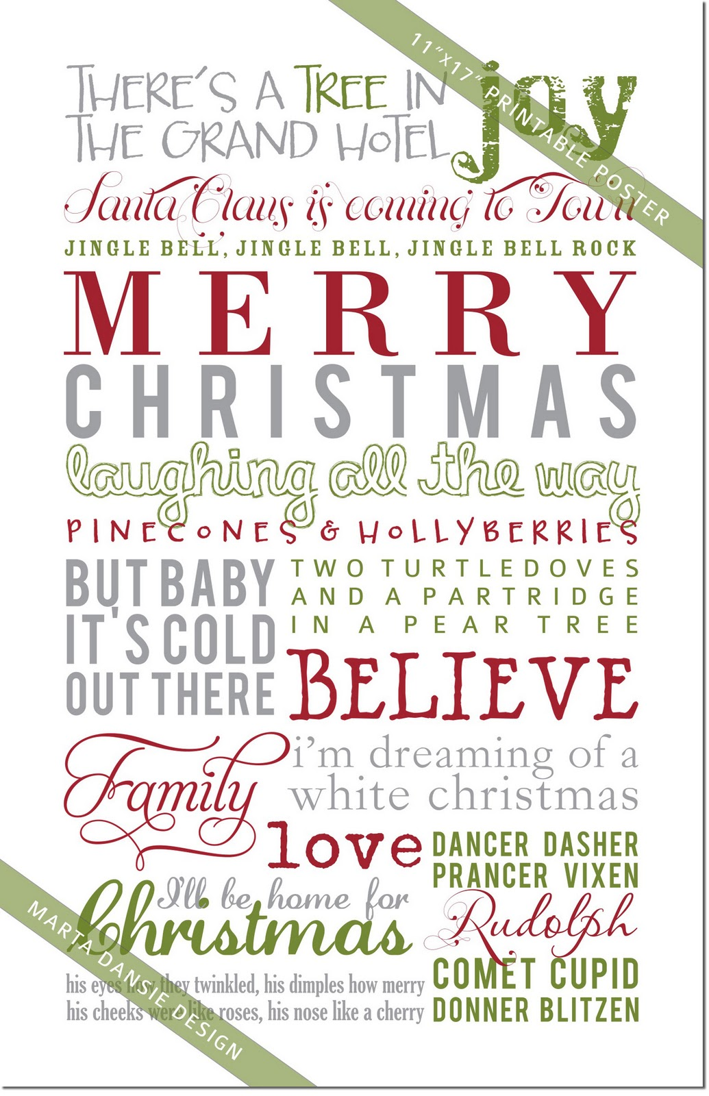 marta writes: a very merry printable christmas poster + giveaway