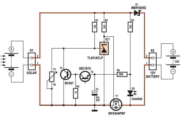 circuit diagram 4 amps photovoltaic solar charge controller circuit