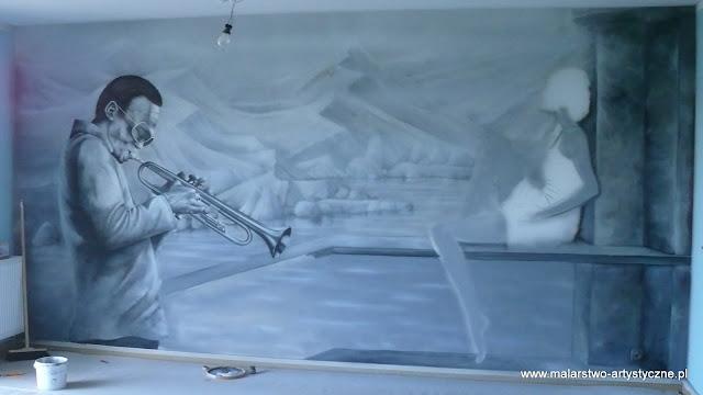 Malowidło ścienne w pokoju muzycznym, młodzieżowym, Warszawa