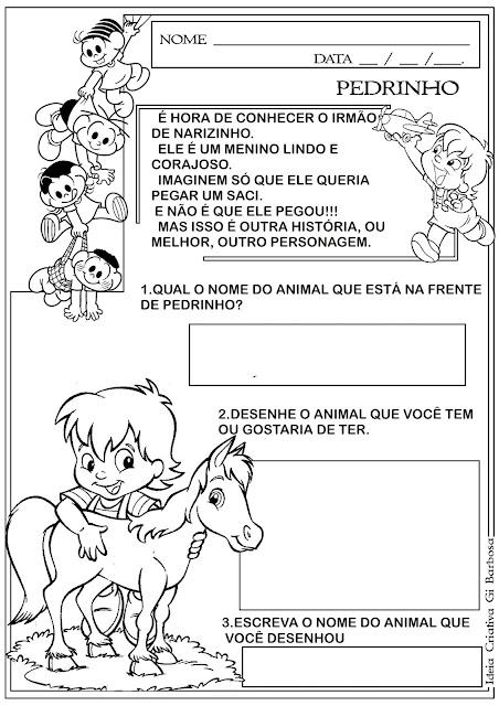 Atividade Dia do Livro Infantil e Monteiro Lobato Pedrinho
