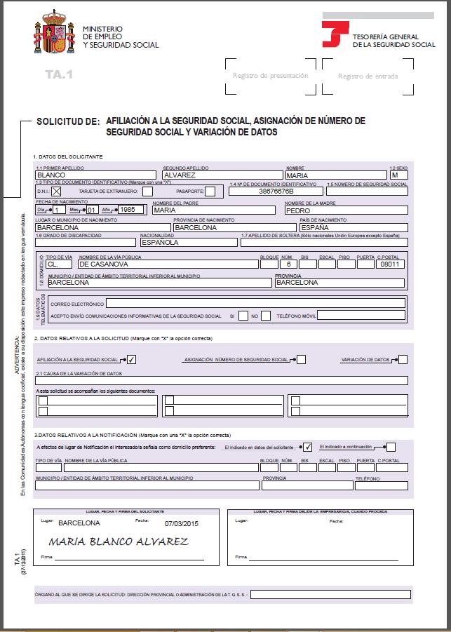 Ejemplo modelo ta 1 de seguridad social creeper 121 for Modelo ta 6 0138 hogar