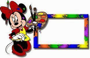Alfabeto de Minnie Mouse pintando marco.
