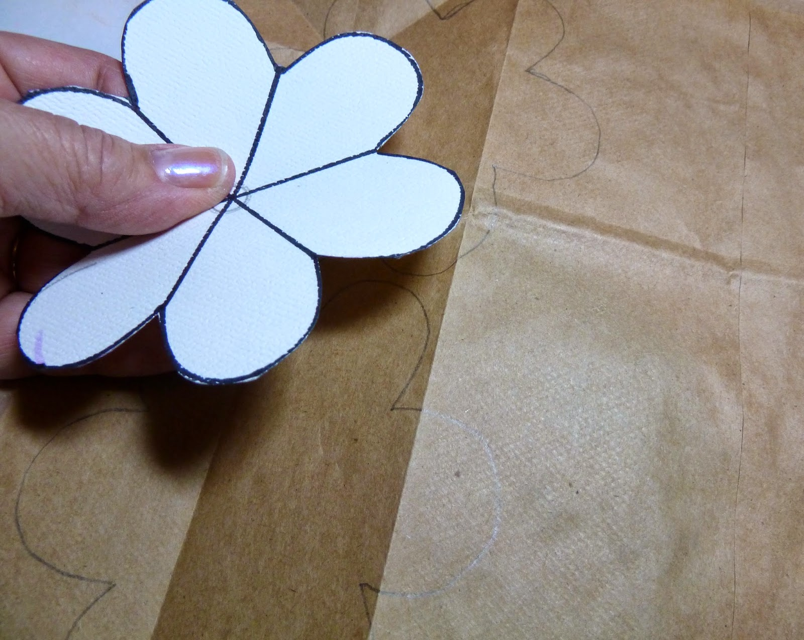 Make it easy crafts recycled brown paper bag rose pens flower pattern mightylinksfo