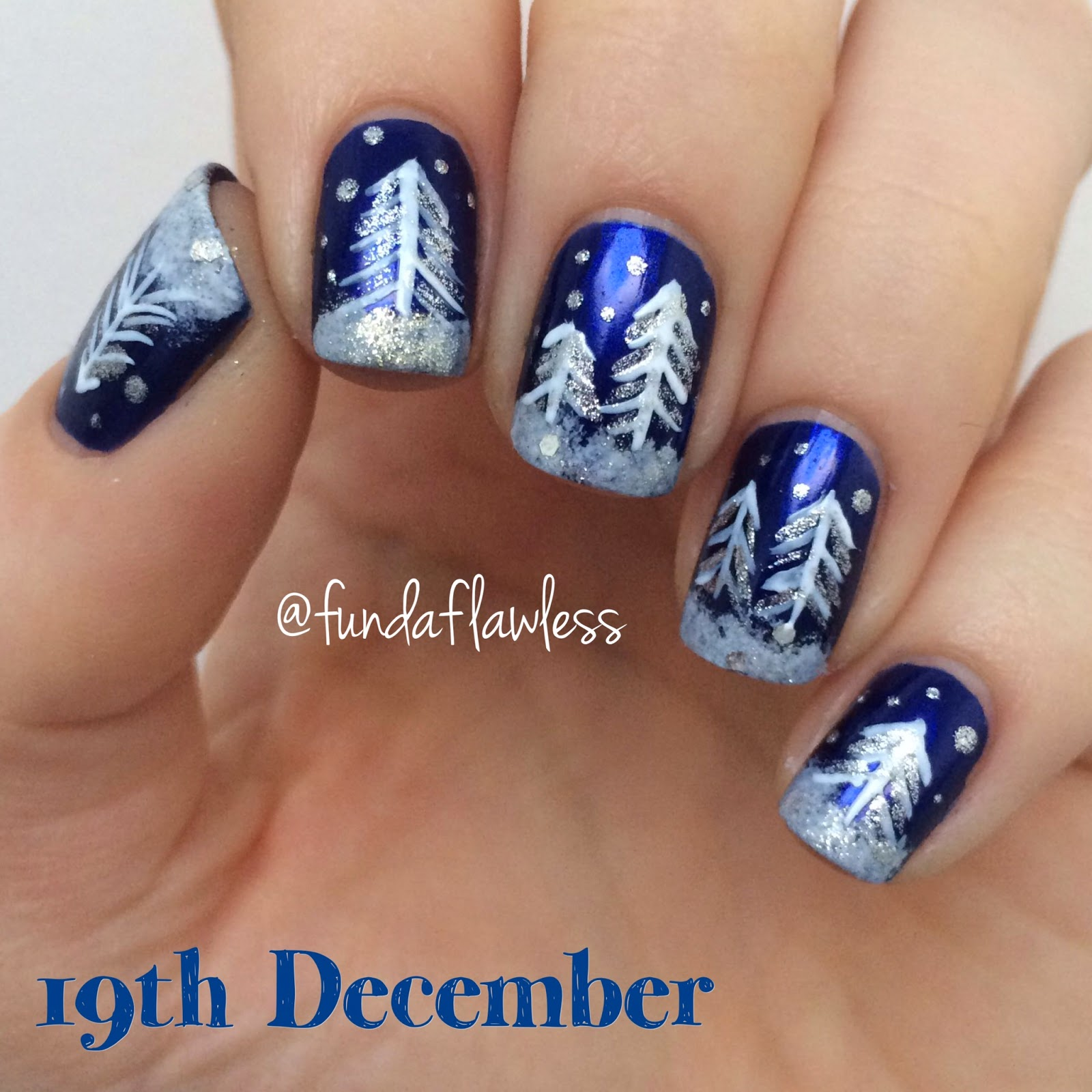 Snowy Trees Christmas nail art with HJ Manicure Midnight Sky