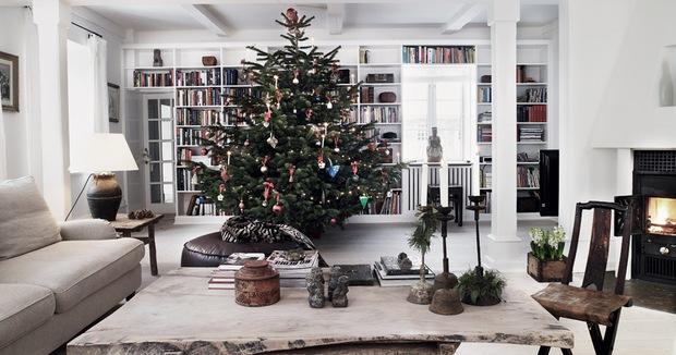 salon con arbol de navidad