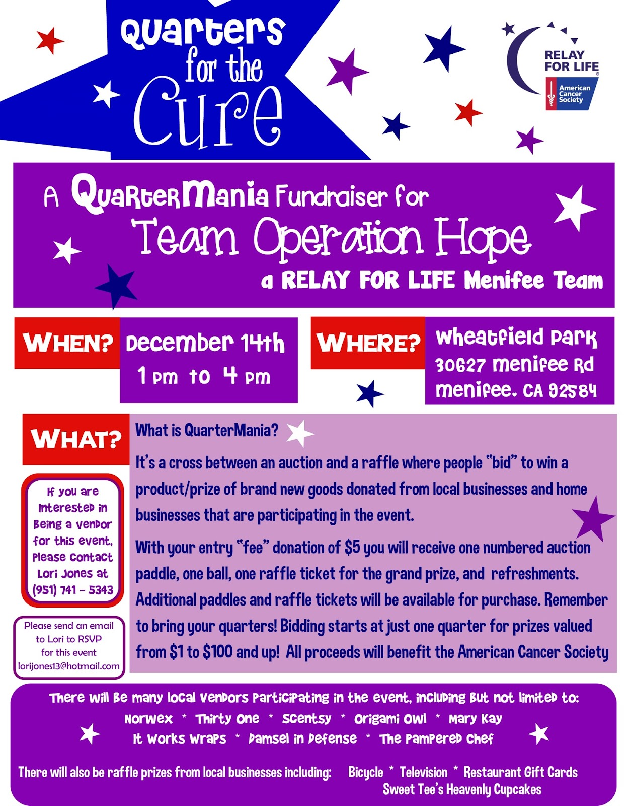 Menifee relay for life team fundraiser tomorrow menifee 24 7 for Relay for life flyer template
