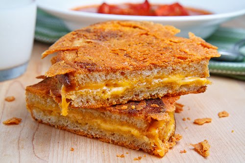 Caramelized Cheese Covered Grilled Cheese Sandwich on Closet Cooking