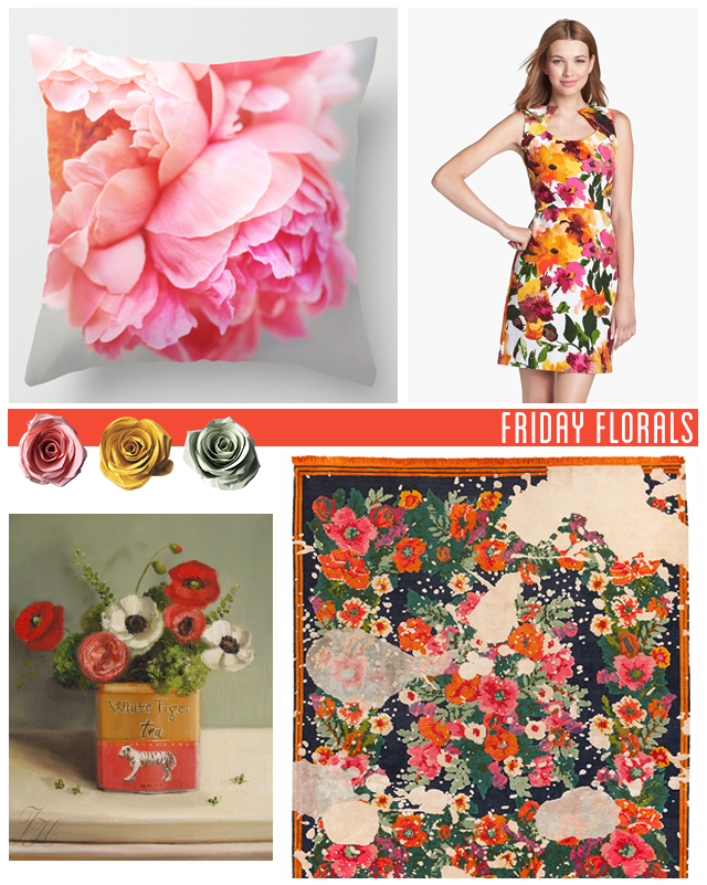 collage of floral items, creature comfort peony cushion, donna ricco floral dress from nordstrom, jan kath rug, janet hill painting