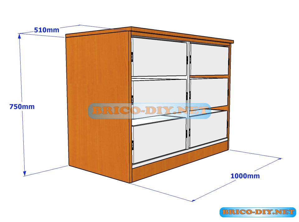 Plano y medidas de c mo hacer una comoda de melamina con for Software para fabricar muebles de melamina