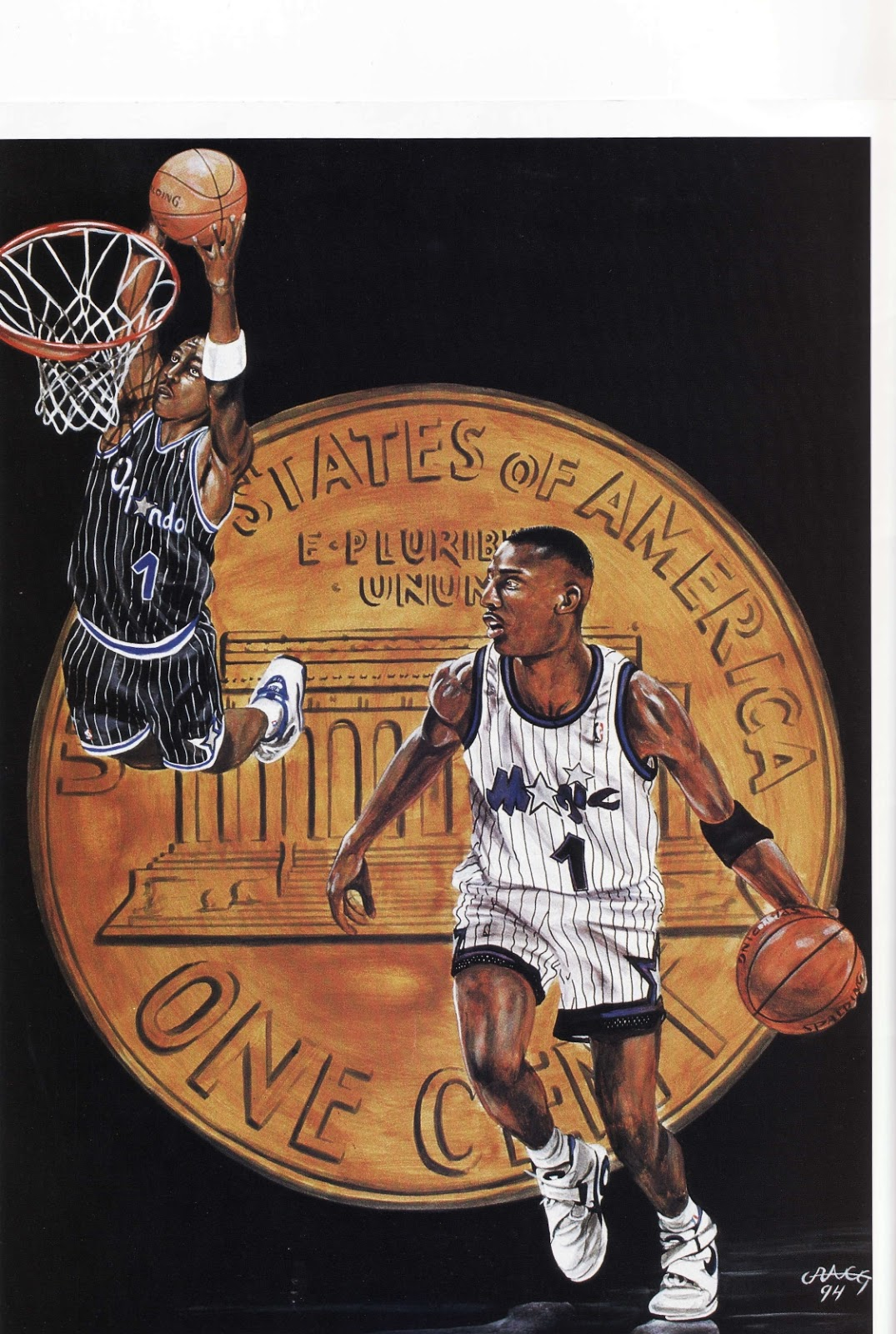 Penny Hardaway painting with a penny from Beckett Basketball Monthly