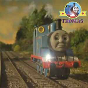 Thomas saves the day and setoff to collect James the tank engine across a darkened countryside trail