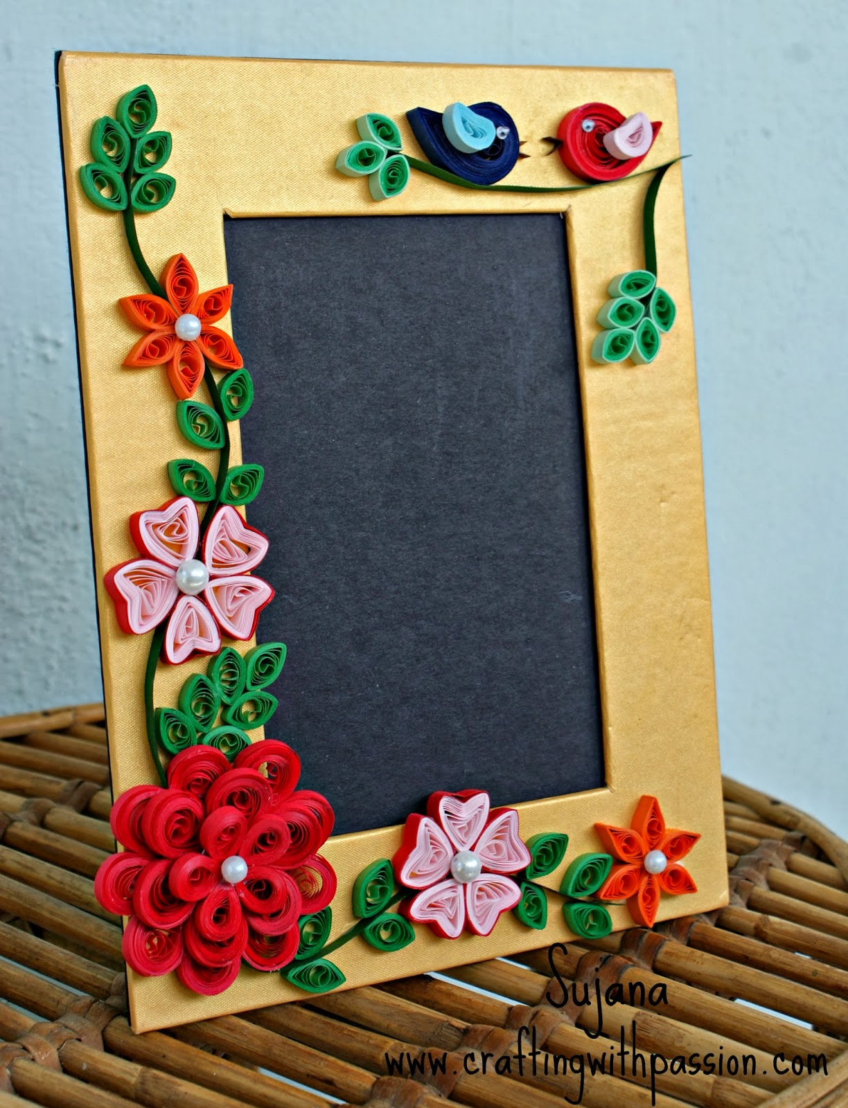 Crafting with passion my first quilled photo frame for Frame designs