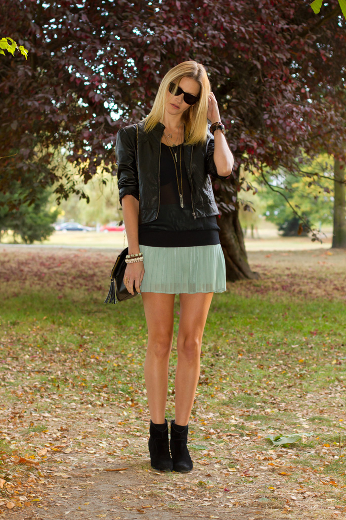 Vancouver Fashion Blogger, Alison Hutchinson, wearing Forever 21 Pleather Jacket, Cue Sheer Black Top, XO Bella Mint Skirt, Urban Outfitter Black Boots, H&M Black Leather Bag