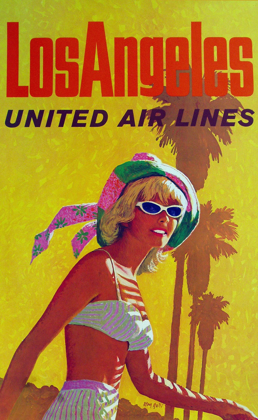 Poster design los angeles - 1960c Los Angeles United Air Lines Poster By Stan Galli
