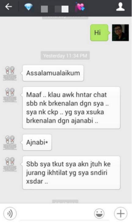 Tindakan mengejutkan seorang gadis apabila lelaki menegurnya di WeChat