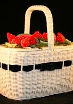 Terrific 1960s Velvet Strawberries Basket Purse