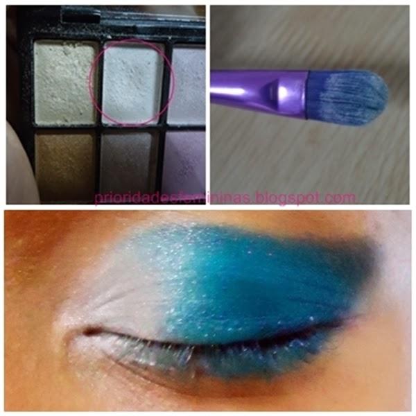 pincel, maquiagem azul