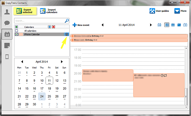 export selected button to backup custom cloud calendar