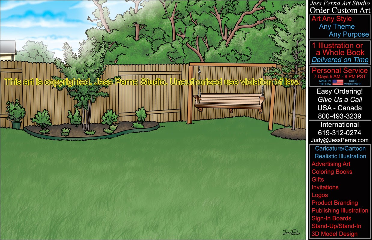 How to order ad cartoons and caricatures from a freelance for Backyard drawing plans