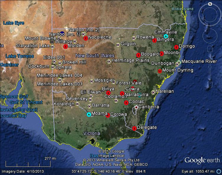 new south wales australia meteorites map