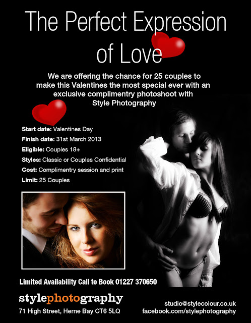 Kent photographers Style Photography are offering the chance for 25 couples to make this Valentine the most special ever with an exclusive complimentry photoshop at