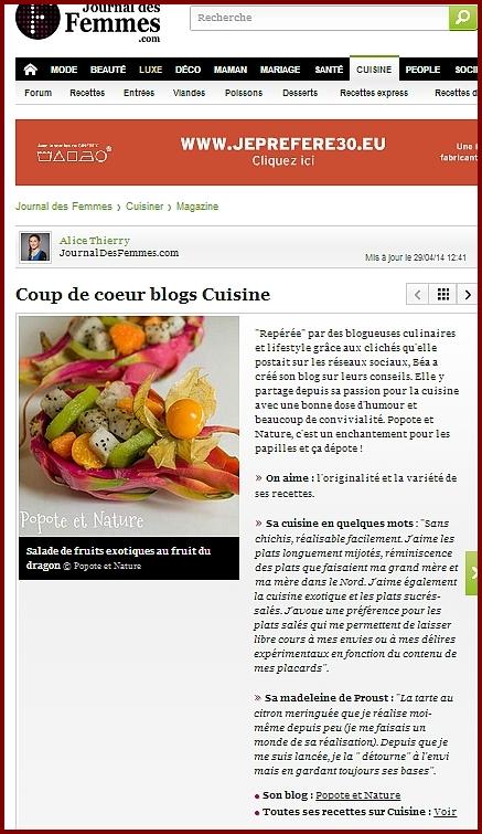 Popote et nature coup de coeur blog journal des femmes cuisine - Journal femmes cuisine ...