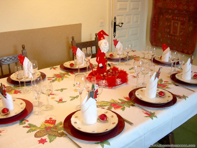 Decoracion de mesas mesa navidad de papa noel - Adornos navidenos para mesas ...