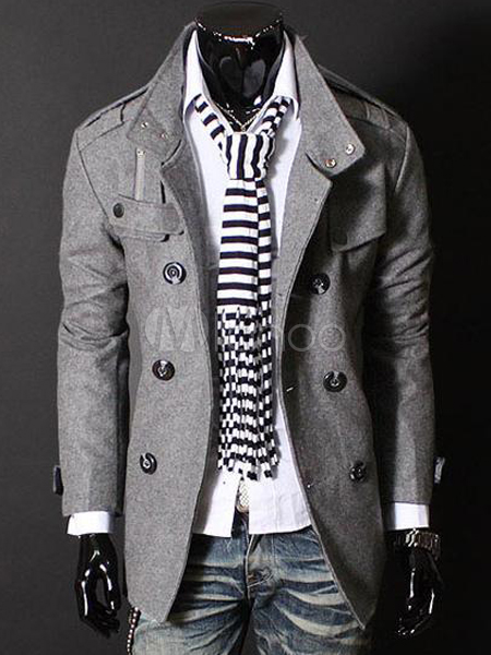 China Wholesale Clothes - Modern Stand Collar Cotton Blend Men's Pea Coat
