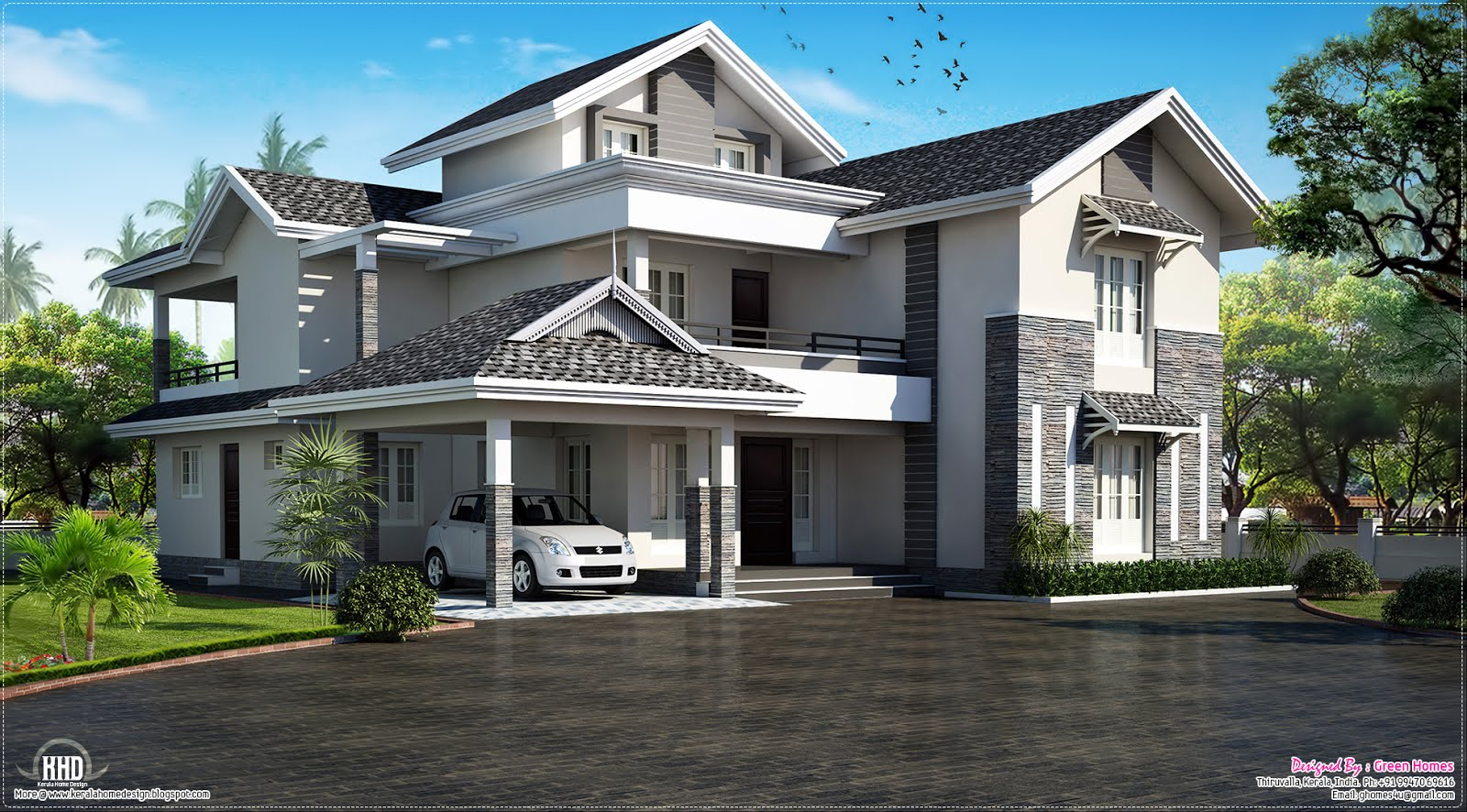 Modern sloping roof house villa design kerala home Designer house