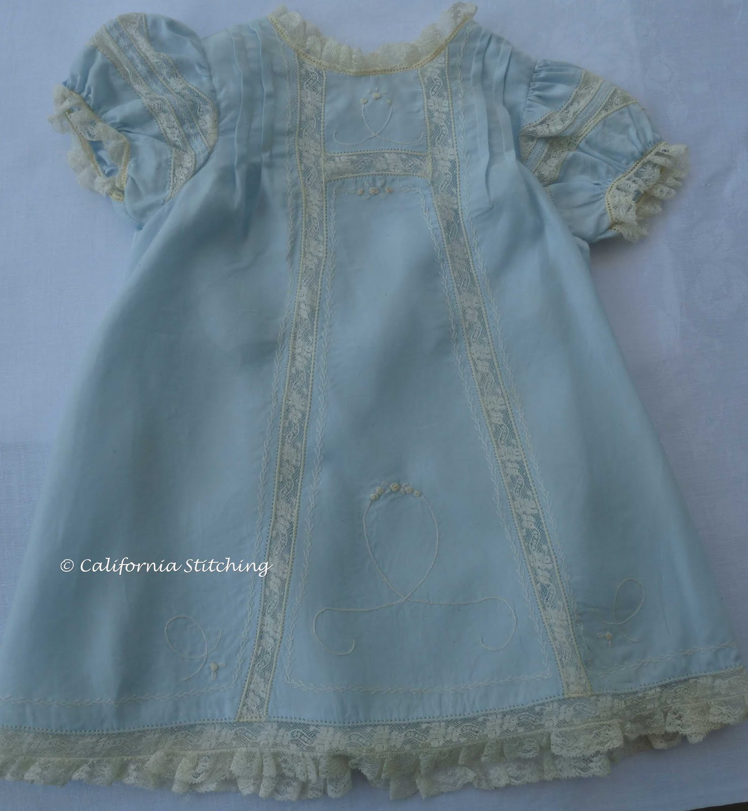 California Stitching Embroidered Blue Baby Dress 2