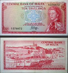 Maltese QEII 10/- Note