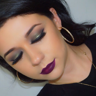 Holiday Makeup 2015, Holiday Makeup 2016, Holiday Makeup 2017, Green Smokey Eye, Purple Lip