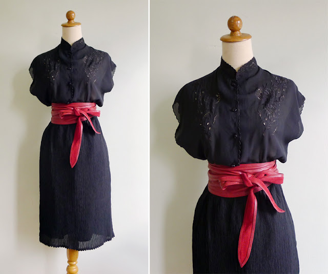 vintage broderie anglaise black dress