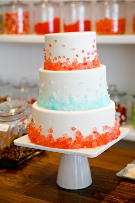 Candy coated wedding cakes