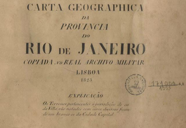 Legenda  da Carta Geográfica da Provincia do Rio de Janeiro de 1823