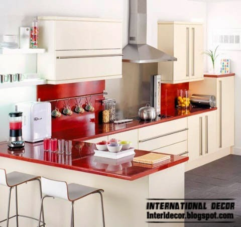 small L-shaped kitchen designs, red and white kitchens