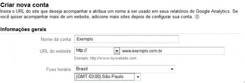 Configuração inicial para uma nova conta do Analytics do Google.