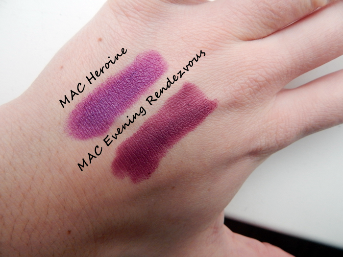 Review and swatches MAC Evening Rendezvous Lipstick (LE) vs MAC Heroine