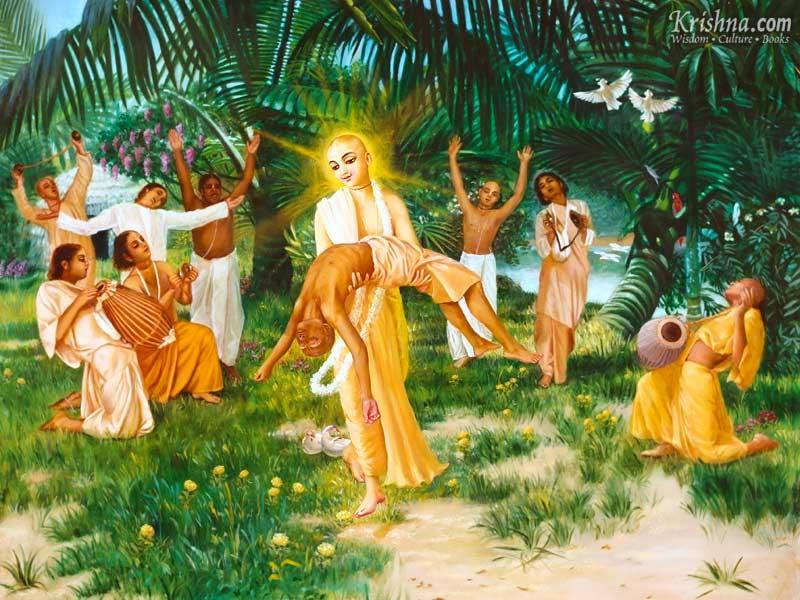 Haridas Thakur in hands of Chaitanya Mahaprabhu