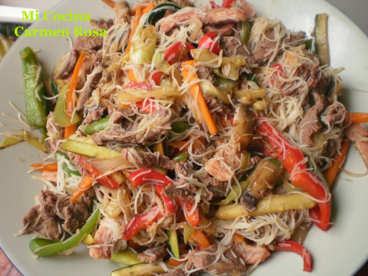 Mi cocina pad thai salteado de fideos de arroz con carne for Wok cuatro cocinas granollers
