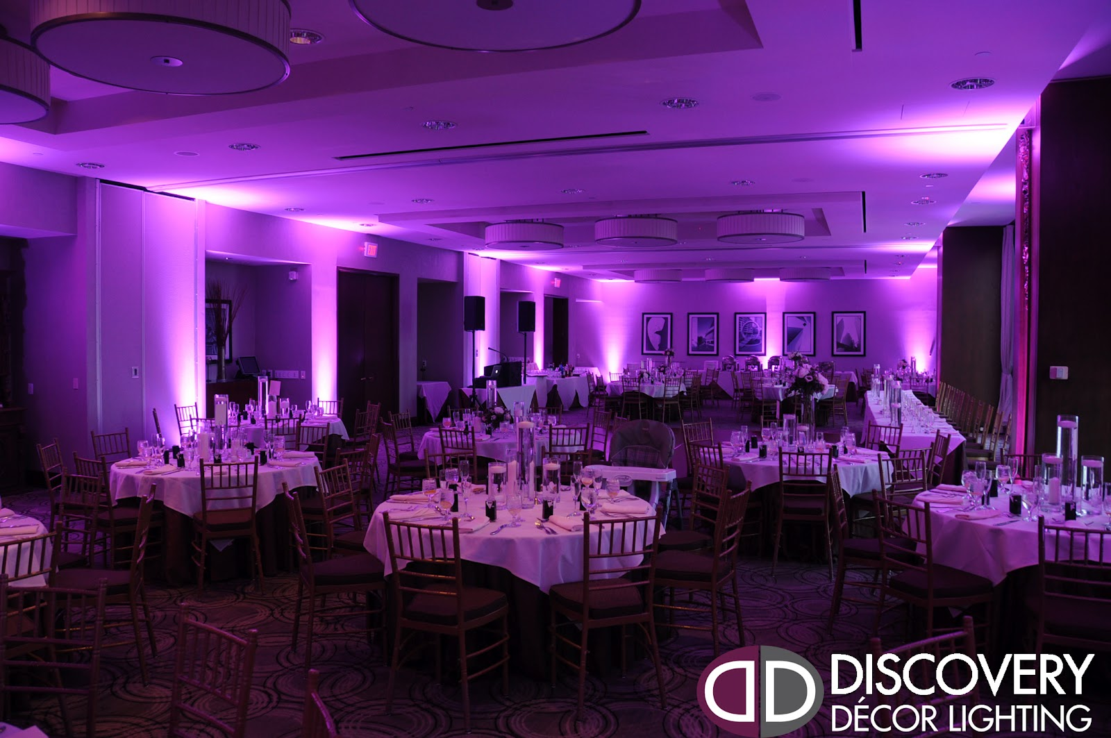 Purple uplighting at the Tower Club in Dallas & discovery dj and lighting | Discovery DJ u0026 Lighting